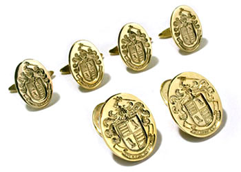 14K Yellow Gold Family Crest Cufflinks and Tuxedo Studs