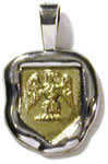 14K Yellow and White Gold Family Crest Pendant