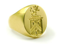 18K Yellow Gold Family Crest Ring