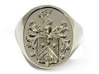 14K White Gold Family Crest Ring